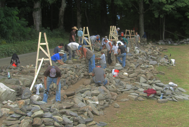 stacking a dry stone wall