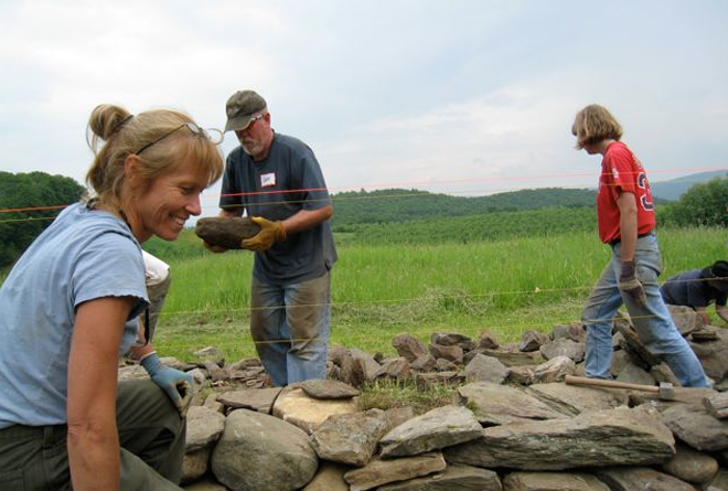 participants in workshop look for stones