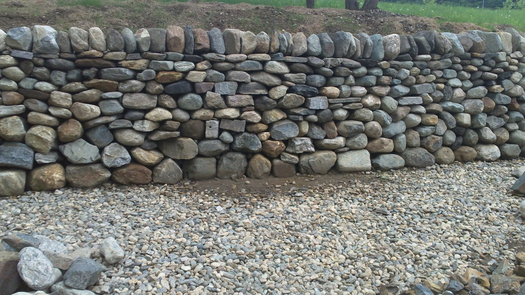 Dry stone retaining wall at the stone trust center