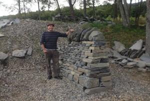 dry stone wall cheek end built of sugar ledge goshen stone