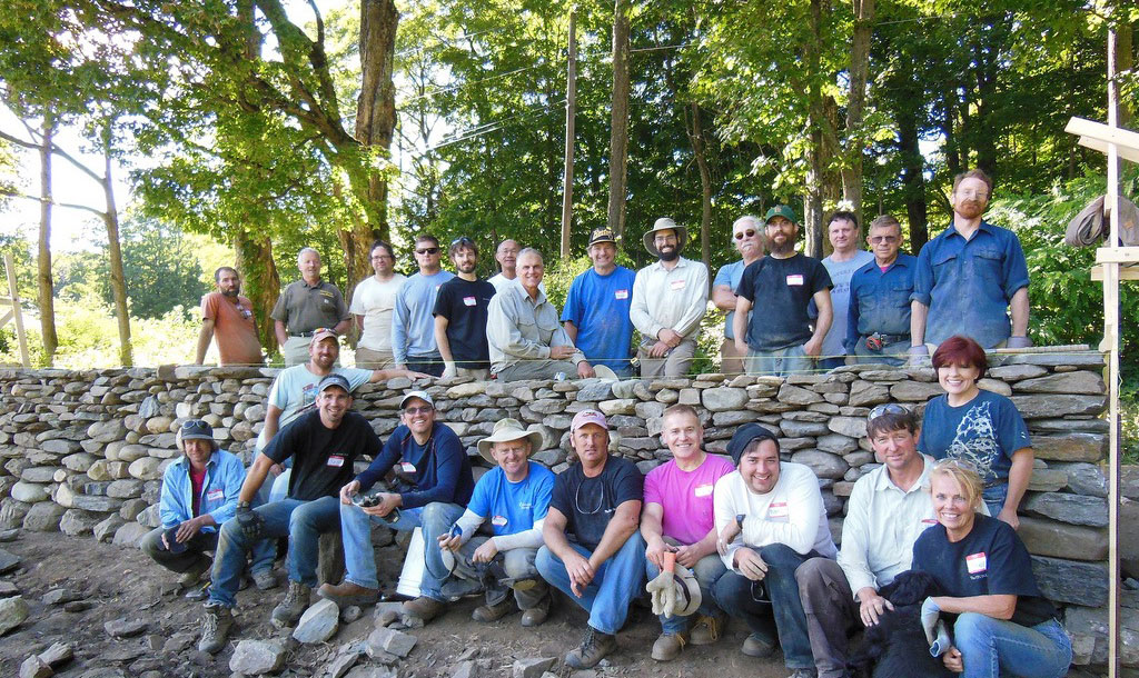 Workshop rebuilding old field wall in Vermont