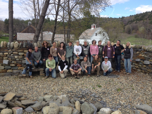 Women's dry stone walling workshop group photo