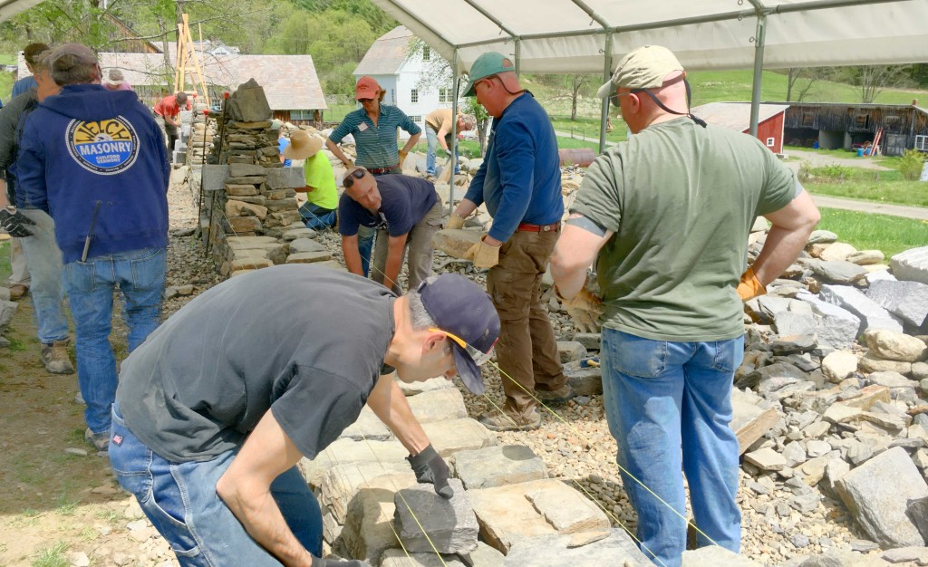 Outdoor dry stone wall workshop at The Stone Trust