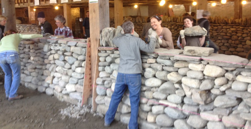 Women's Dry Stone Walling course in action at The Stone Trust