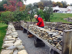 Mini Dry Stone Walling at table height.