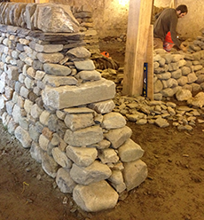 Dry stone walls at The Stone Trust Center