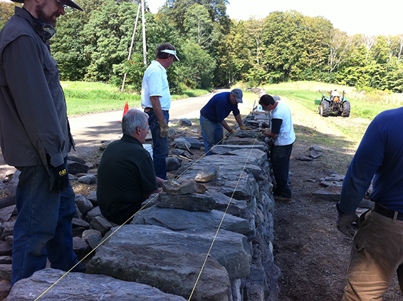 Dry Stone wall being finished by workshop participants