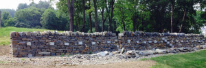 Dry stone wall at the masters feature park