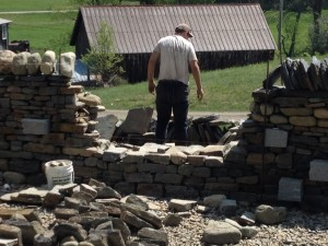 Level 1 dry stone wall test in progress outdoors