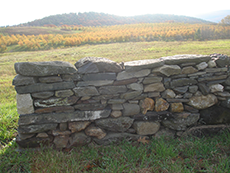 Dry stone wall built in a workshop
