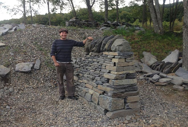 dry stone wall cheek end built of sugar ledge goshen stone