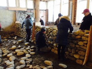 nearing the top of the stone wall - 1