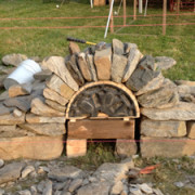 Dry stone arch demonstration with form in place
