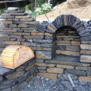 Dry stone arched niche and wood form