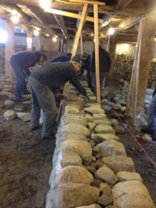 Dry stone wall workshop showing a well laid course