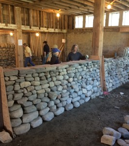 Dry stone wall Cover band on and ready for coping