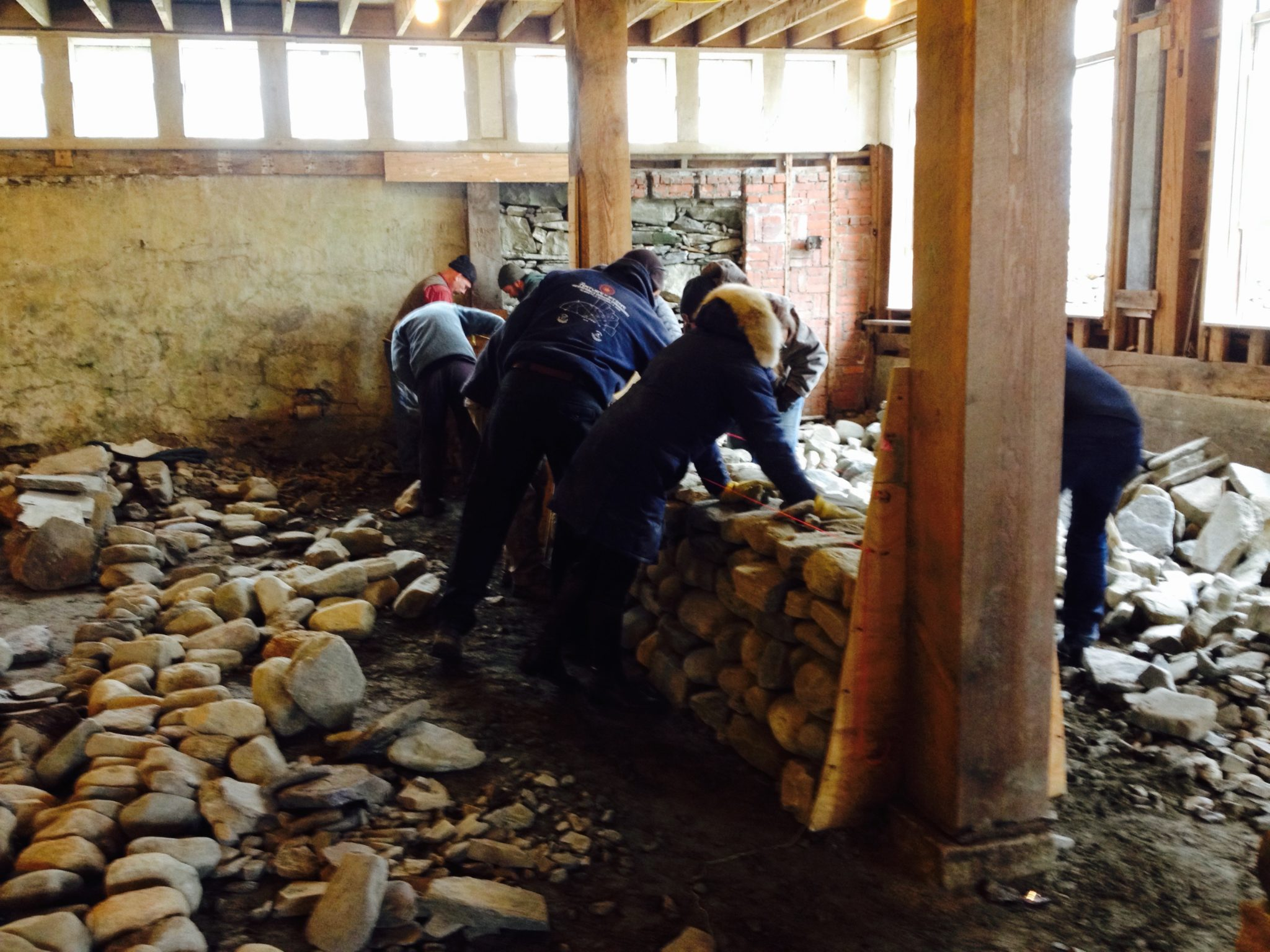 level 1 dry stone wall workshop building second lift