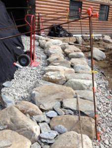Rebar dry stone retaining wall frames