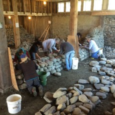 Women's dry stone walling workshop building first lift