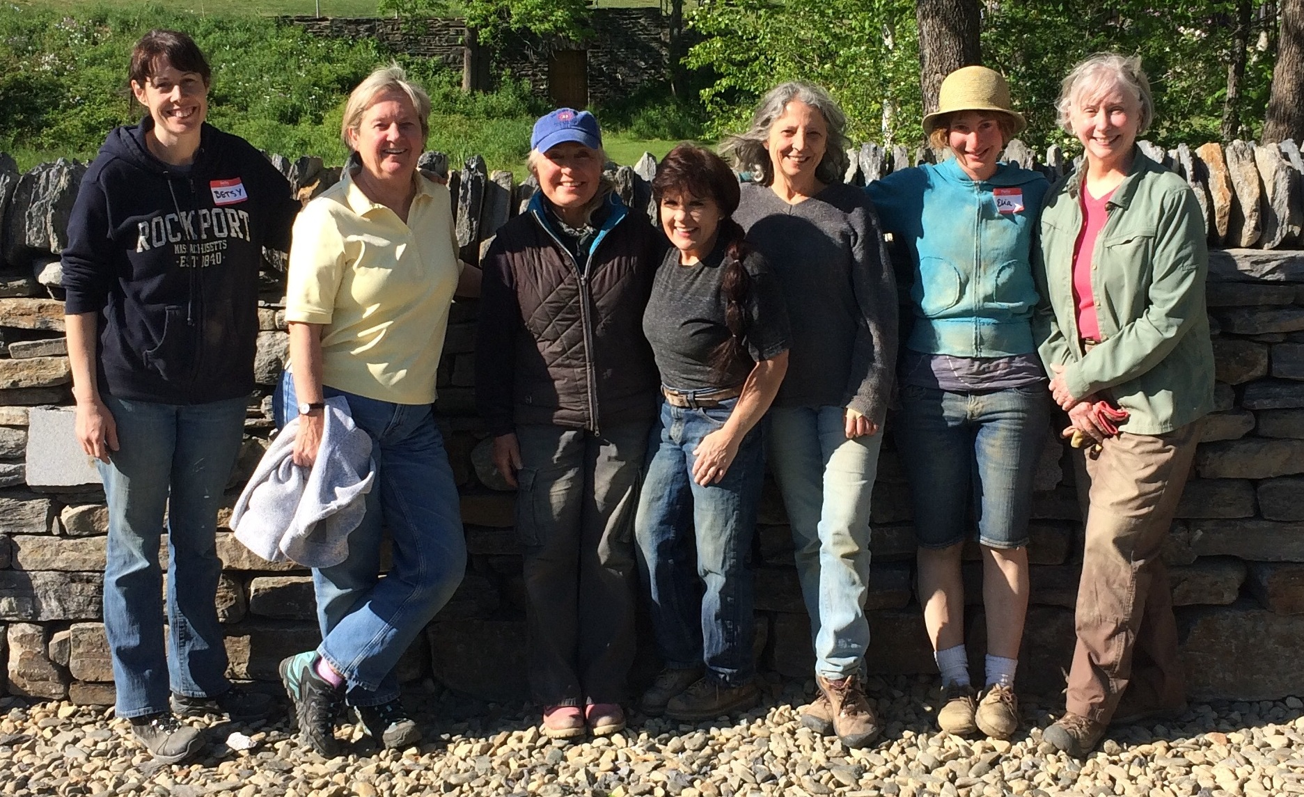 1st ever womens' dry stone wall workshop taught by a certified women instructorin North America. Kim Coggin at the center of the photo.