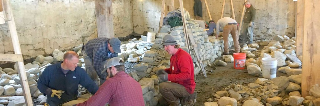 Contractors dry stone wall building workshop