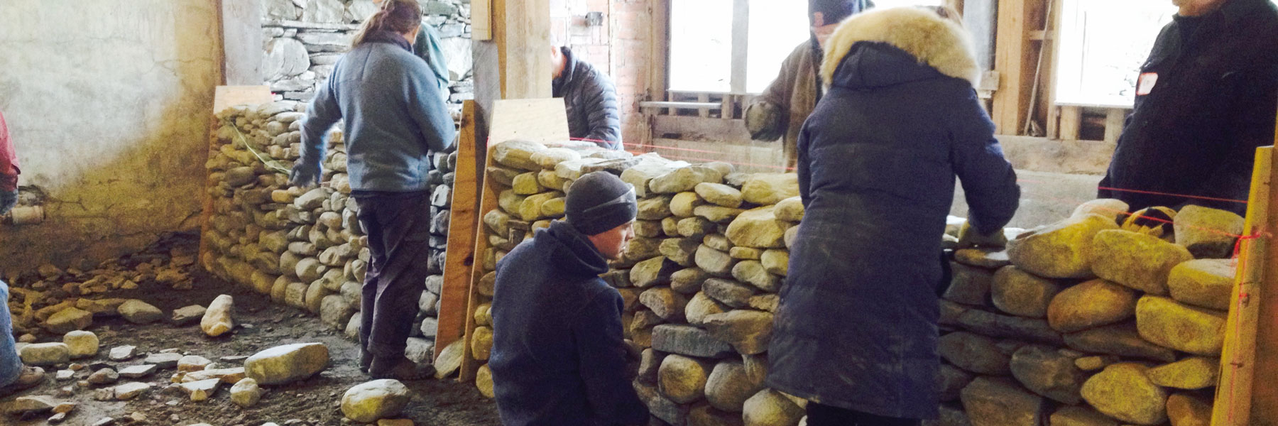 Dry stone wall course underway