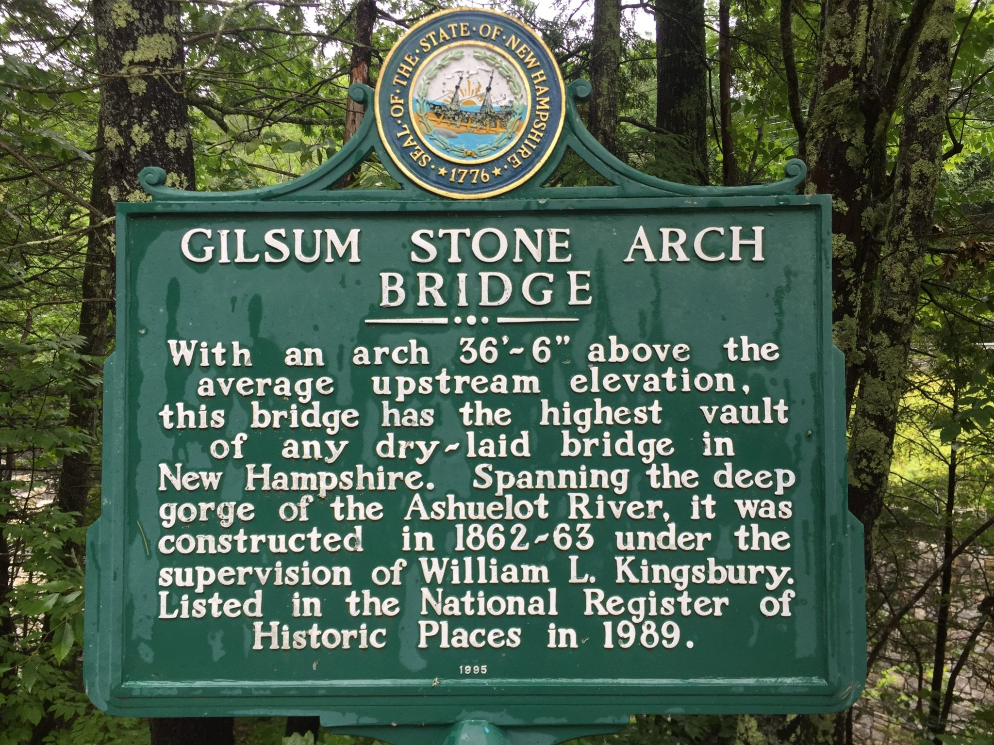Gilsum Stone Arch Bridge Historic Marker