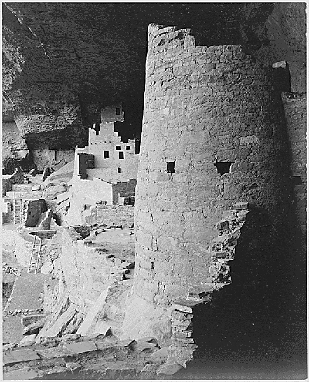 Round Tower, Cliff Palace, Mesa Verde. Photo by Ansel Adams