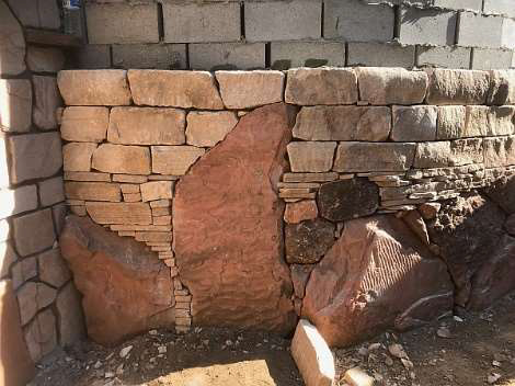 """Red sandstone base """"course"""""""